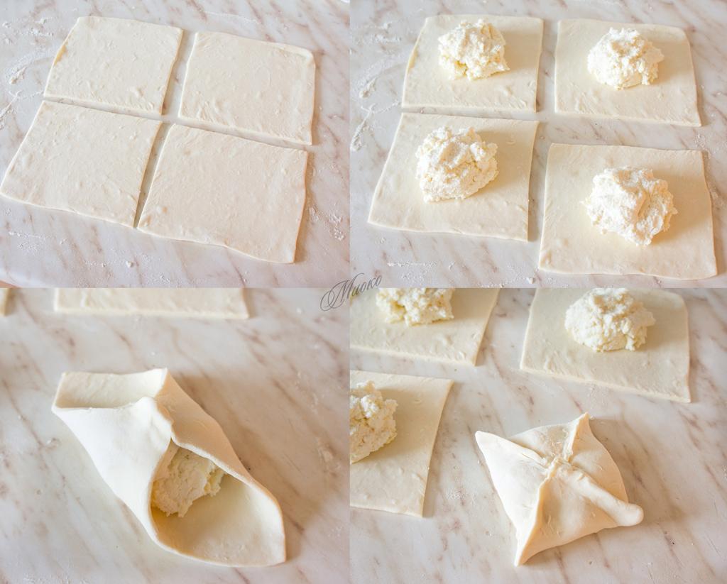 Конверты из слоеного теста с сыром рецепт