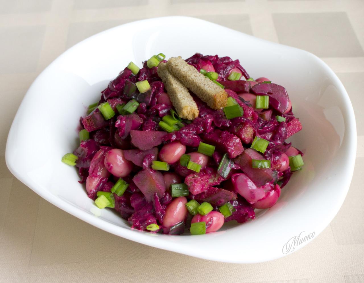 Салат свекла с фасолью