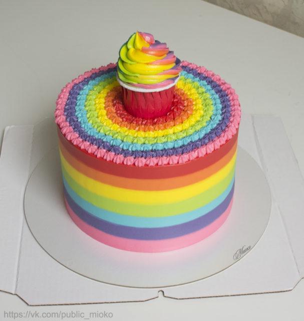 МК — Торт-радуга (внешнее оформление кремом)