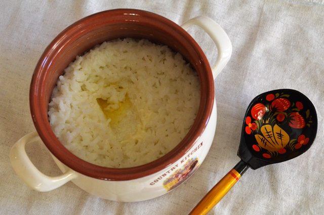 Молочная рисовая каша, томленая в духовке