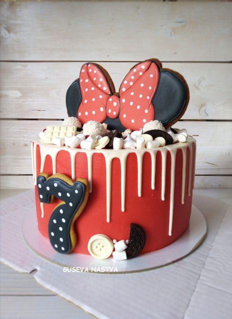Цветные потёки на торт