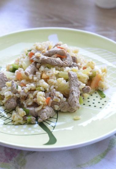 Булгур со свининой и овощами