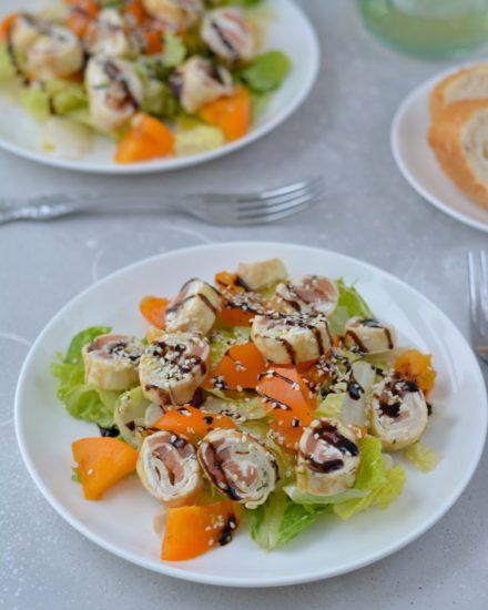 Салат с блинными рулетиками